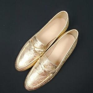 J. Crew Academy Loafer/Leather/Gold/Size: 7 (576)